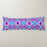 Pretty Pink Blue Floral Abstract Pattern Design Body Pillow
