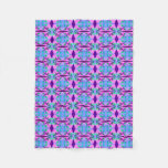 Pretty Pink Blue Floral Abstract Pattern Design Fleece Blanket
