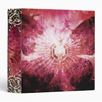 Pretty Pink Girly Butterfly Wings Abstract Design Vinyl Binder