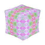 Pretty pink green jewel fractal pattern cube pouf
