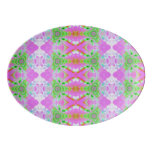 Pretty pink green jewel fractal pattern porcelain serving platter