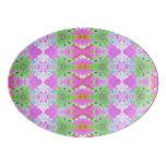 Pretty pink green jewel fractal pattern porcelain serving platter