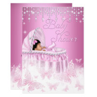 Pretty Pink Sparkle Butterfly Baby Shower Ethnic Card