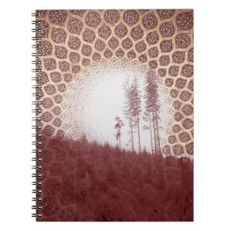 Pretty Red Forest Bohemian Tribal Sun and Trees Spiral Notebooks