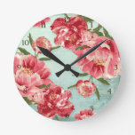 Pretty Retro Flower Chintz Peonies Personalized Round Clocks