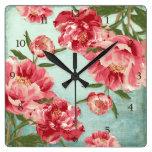 Pretty Retro Flower Chintz Peonies Personalized Square Wall Clocks