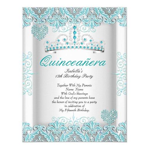 Pretty Teal Blue Quinceanera Party Tiara Hearts Card