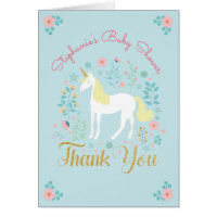 Pretty Unicorn Gold Glitter Baby Shower Thank You Card