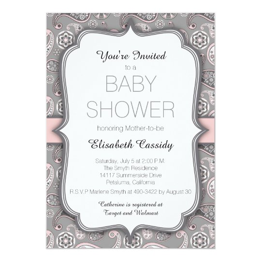 Pretty Vintage Paisley Pink Baby Shower