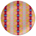 Pretty yellow red ribbons porcelain plates