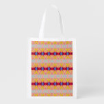 Pretty yellow red ribbons reusable grocery bags