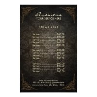 Price List   Vintage Framed Damask Beauty Salon Flyer ...