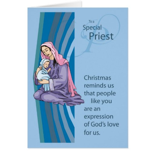 Priest Christams Card With Mary And Infant Jesus Zazzle