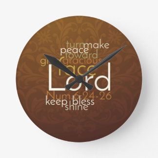 Priestly Blessing on Copper Brown Damask Back Round Clock