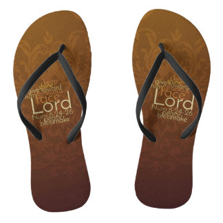 Priestly Blessing on Copper Brown Damask Flip Flops
