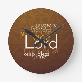 Priestly Blessing on Copper Brown Damask Round Clock
