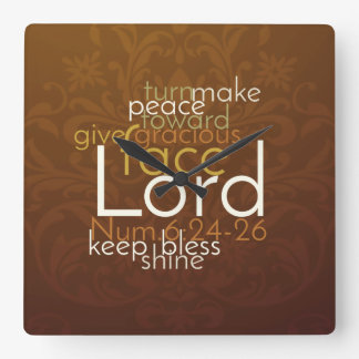 Priestly Blessing on Copper Brown Damask Square Wall Clock