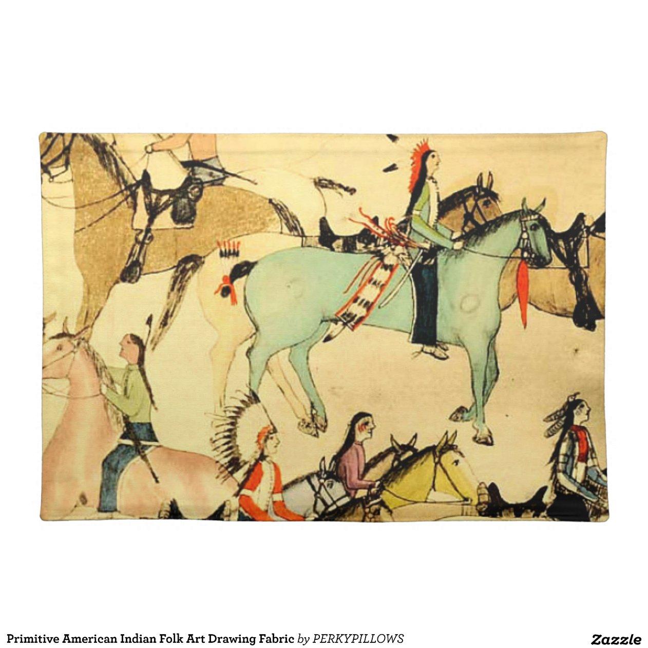 Primitive American Indian Folk Art Drawing Fabric Placemat Zazzle