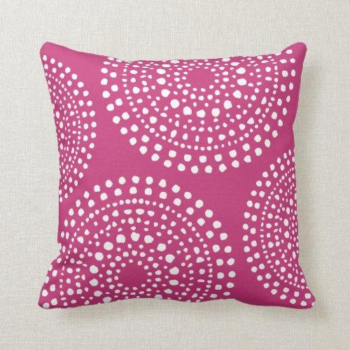 Primitive Boho Mosaic Pattern Magenta Pink Throw Pillow