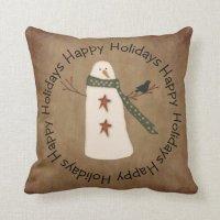 Primitive Country Snowman Pillow | Zazzle