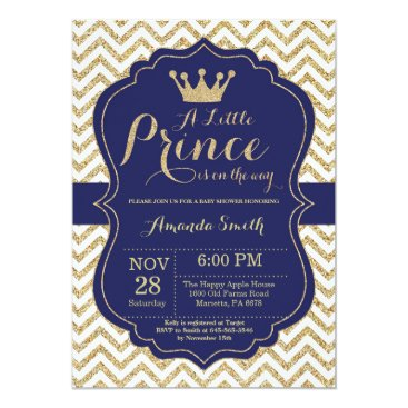 Prince Baby Shower Invitation Navy and Gold