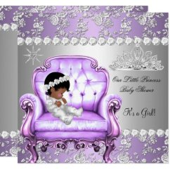 Baby Girl Chair Shower With Arms Princess Lavender Silver Invitation Zazzle Com