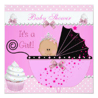 Princess Baby Shower Girl Pink Cupcake Sprinkle Card