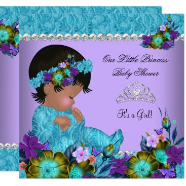 Princess Baby Shower Girl Teal Blue Purple Invitation