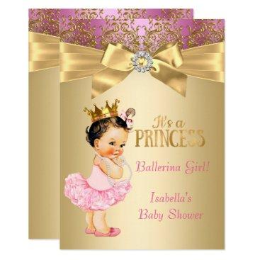 Princess Baby Shower Pink Gold Ballerina Brunette Card