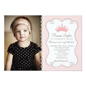 Princess Birthday Pink Crown Photo Invitation