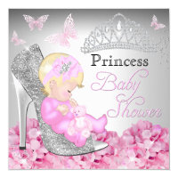 Princess Glitter Shoe Pink Baby Shower Invite