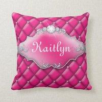 Princess Jewelry Pillow Tufted Satin Diamond Pink | Zazzle