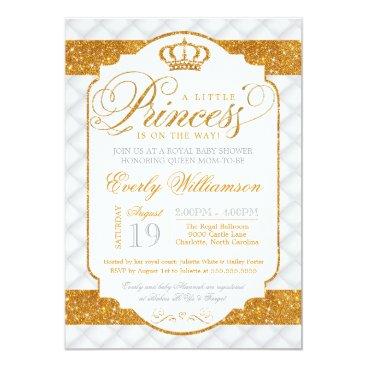 Princess Luxury White Gold Baby Shower Invitation