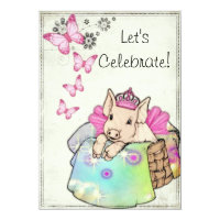 Princess Piggy in a Blanket Invitation