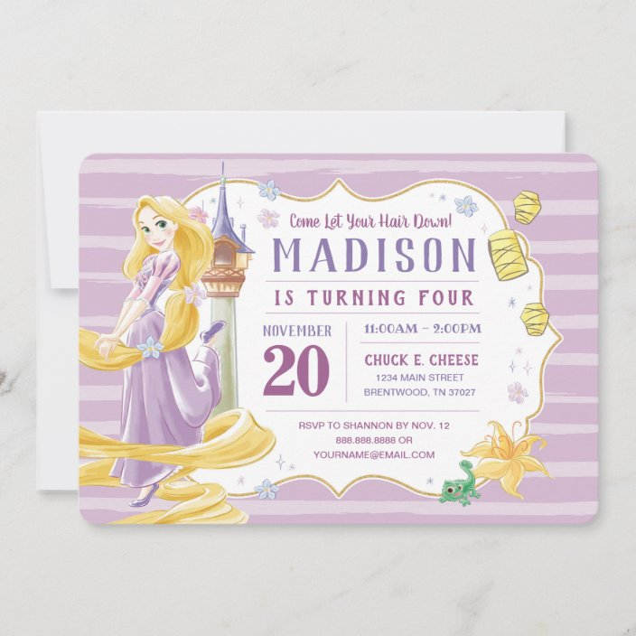 princess rapunzel watercolor birthday invitation zazzle com