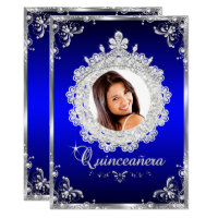 Princess Tiara Royal Blue Sparkle Quinceanera Card