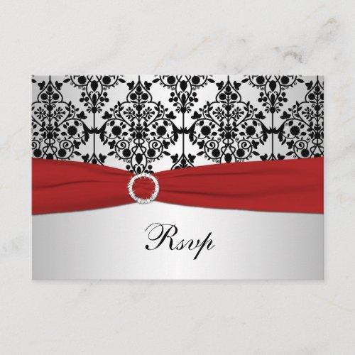 PRINTED RIBBON Red, Gray, & Black Damask RSVP Card