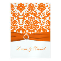 PRINTED RIBBON White, Orange Damask Wedding Invite