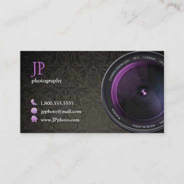 Professional Damask Photographer Camera Lens Business Card