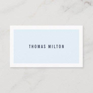 Professional Minimalist Blue White Consultant Business Card