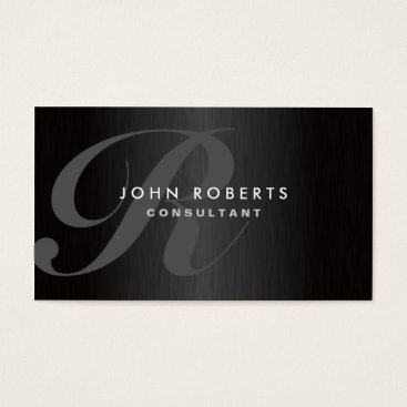 Professional Monogram Elegant Modern Brushed Metal Business Card