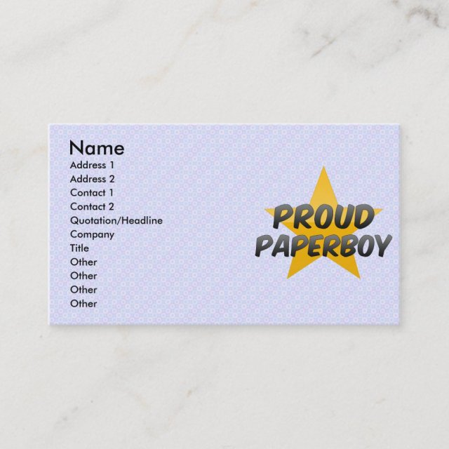 Proud Paperboy Business Card