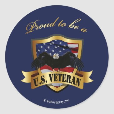 Proud to be a U.S. Veteran - navy blue Classic Round Sticker
