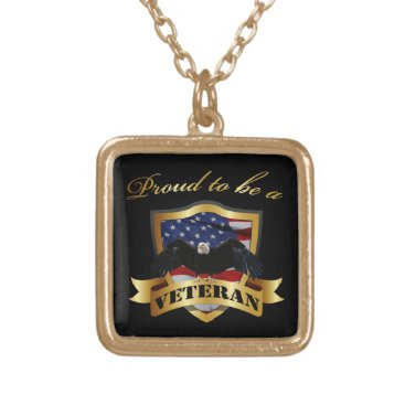 Proud to be a Veteran Gold Plated Necklace