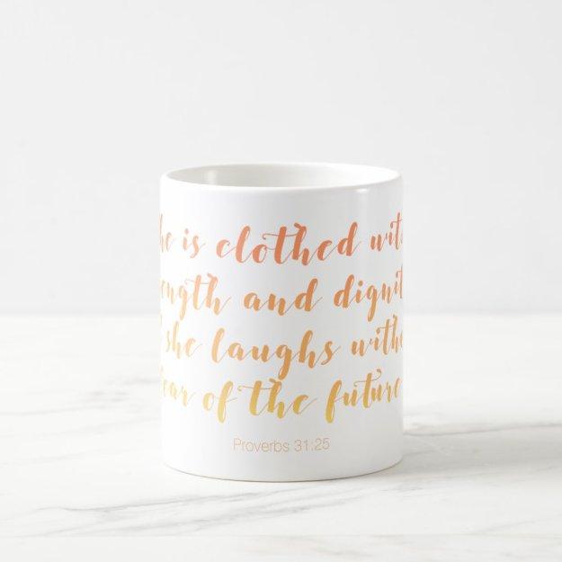 Proverbs 31:25 Mug - Summer Script