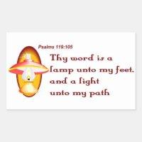 Psalms 119,105 thy word is a lamp rectangular sticker