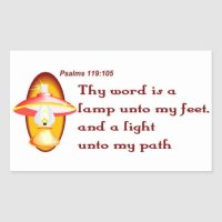 Psalms 119,105 thy word is a lamp rectangular sticker | Zazzle