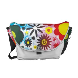 Psychedelic 60s Red Green Flowers Pattern rickshawmessengerbag