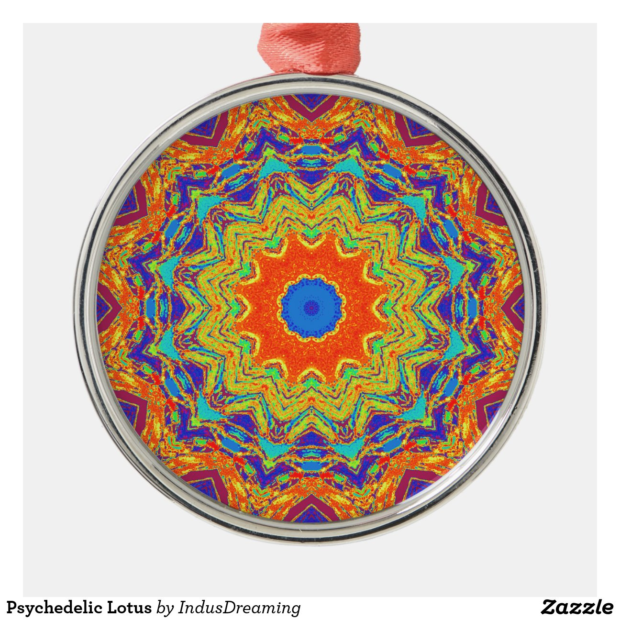 Psychedelic Lotus Metal Christmas Ornament Zazzle