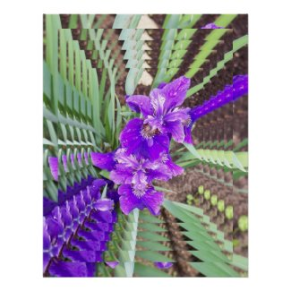 Psychedelic Purple Iris with Water Droplets Poster print